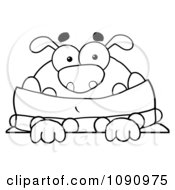 Clipart Outlined Bulldog Looking Over A Sign Royalty Free Vector Illustration