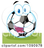 Clipart Smiling Soccer Ball Character Royalty Free Vector Illustration