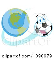 Clipart Happy Soccer Ball Character Flying Away From Earth Royalty Free Vector Illustration