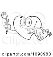 Outlined Valentine Heart Character Holding A Rose And Candy