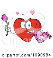 Clipart Valentine Heart Character Holding A Rose And Candy Royalty Free Vector Illustration by Hit Toon