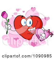 Red Valentine Heart Character Holding A Rose And Candy