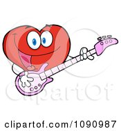 Clipart Valentine Heart Character Guitarist Playing A Song Royalty Free Vector Illustration by Hit Toon