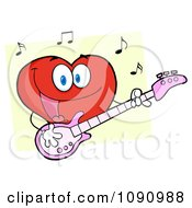 Red Valentine Heart Character Guitarist Playing A Song