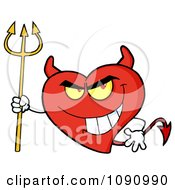 Clipart Devil Valentine Heart Character Royalty Free Vector Illustration by Hit Toon