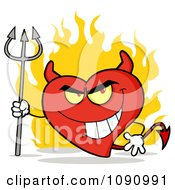 Clipart Devil Valentine Heart Character And Flames Royalty Free Vector Illustration