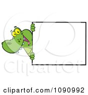 Clipart Smiling Alligator Looking Around A Sign Royalty Free Vector Illustration by Hit Toon