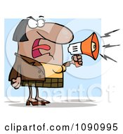 Clipart Indian Businesswoman Shouting Bossy Remarks Through A Megaphone Royalty Free Vector Illustration