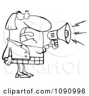 Clipart Outlined Businesswoman Shouting Bossy Remarks Through A Megaphone Royalty Free Vector Illustration
