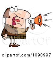 Caucasian Businesswoman Shouting Bossy Remarks Through A Megaphone