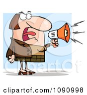 Clipart White Businesswoman Shouting Bossy Remarks Through A Megaphone Royalty Free Vector Illustration by Hit Toon
