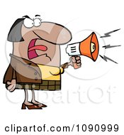 Clipart Black Businesswoman Shouting Bossy Remarks Through A Megaphone Royalty Free Vector Illustration by Hit Toon