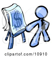 Blue Business Man Standing By A Dollar Sign Puzzle On A Presentation Board During A Meeting Clipart Illustration
