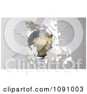 Clipart 3d Metallic Earth Crashing Through A Wall Of Puzzle Pieces Royalty Free CGI Illustration by Mopic