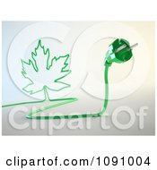 Clipart 3d Green Electric Plug With A Maple Leaf Cord Royalty Free CGI Illustration