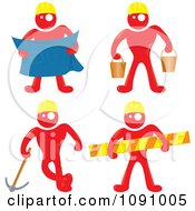 Red Men Construction Workers With Blue Prints Buckets Tools And A Caution Bar