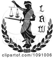 Clipart Black And White Laurel With Lady Justice And Law Text Royalty Free Vector Illustration