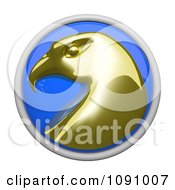 Clipart 3d Shiny Blue Circular And Gold Wellness Eagle Icon Button Royalty Free CGI Illustration