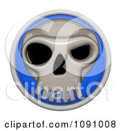 3d Shiny Blue Circular Skull Icon Button