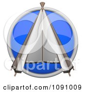 Clipart 3d Shiny Blue Circular Teepee Icon Button Royalty Free CGI Illustration by Leo Blanchette