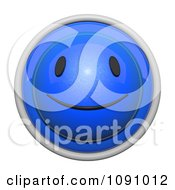 Clipart 3d Shiny Blue Circular Smiley Face Emoticon Icon Button Royalty Free CGI Illustration by Leo Blanchette