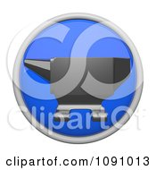 Clipart 3d Shiny Blue Circular Anvil Icon Button Royalty Free CGI Illustration by Leo Blanchette