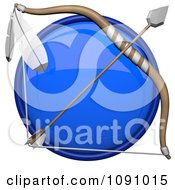 Clipart 3d Shiny Blue Circular Archery Icon Button Royalty Free CGI Illustration by Leo Blanchette