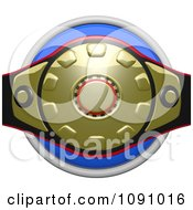 3d Shiny Blue Circular Boxing Belt Icon Button