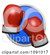 3d Shiny Blue Circular Boxing Gloves Icon Button