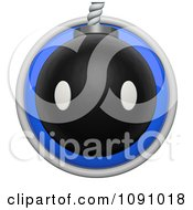 Clipart 3d Shiny Blue Circular Bomb Icon Button Royalty Free CGI Illustration by Leo Blanchette