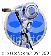 Clipart 3d Shiny Blue Circular Robot And Telescope Icon Button Royalty Free CGI Illustration