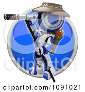 Clipart 3d Shiny Blue Circular Robot Scout Icon Button Royalty Free CGI Illustration