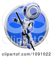 Clipart 3d Shiny Blue Circular Pointing Robot Icon Button Royalty Free CGI Illustration by Leo Blanchette