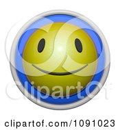 3d Shiny Blue And Yellow Circular Smiley Face Emoticon Icon Button