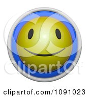 Clipart 3d Shiny Blue And Yellow Circular Smiley Face Emoticon Icon Button Royalty Free CGI Illustration by Leo Blanchette