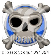 3d Shiny Blue Circular Skull And Cross Bones Pirate Icon Button