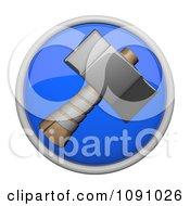 Clipart 3d Shiny Blue Circular Sledge Hammer Icon Button Royalty Free CGI Illustration