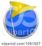 3d Shiny Blue Circular Yellow Flag Icon Button