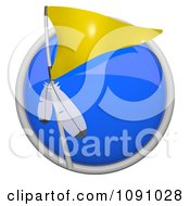 Clipart 3d Shiny Blue Circular Yellow Native American Tribe Flag Icon Button Royalty Free CGI Illustration by Leo Blanchette