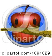 Clipart 3d Shiny Blue Circular Weight Loss Apple Icon Button Royalty Free CGI Illustration
