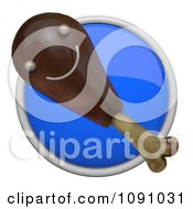 Clipart 3d Shiny Blue Circular Chicken Drumstick Icon Button Royalty Free CGI Illustration by Leo Blanchette