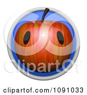 3d Circular Apple Icon Button