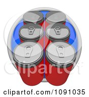 3d Blue Circular Six Pack Soda Or Beer Can Icon Button