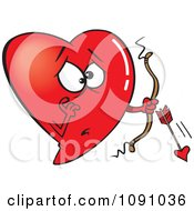 Clipart Red Heart Cupid With A Broken Arrow Royalty Free Vector Illustration