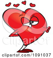 Clipart Red Heart Puckered For A Kiss Royalty Free Vector Illustration