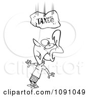 Clipart Outlined Woman Under A Falling Taxes Boulder Royalty Free Vector Illustration