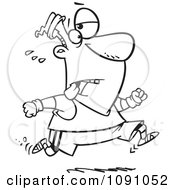 Clipart Outlined Tired Man Jogging Royalty Free Vector Illustration