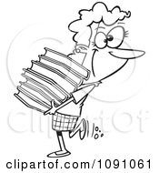 Clipart Outlined Librarian Or Heavy Reader Carrying A Large Stack Of Books Royalty Free Vector Illustration