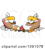 Clipart Eagle Friends Eating Lunch By A Camp Fire Royalty Free Vector Illustration by toonaday