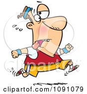 Clipart Tired Man Jogging Royalty Free Vector Illustration